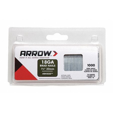 - Arrow BN1820 18 GA 1 1/4-Inch Brad Nail, 1000 Count