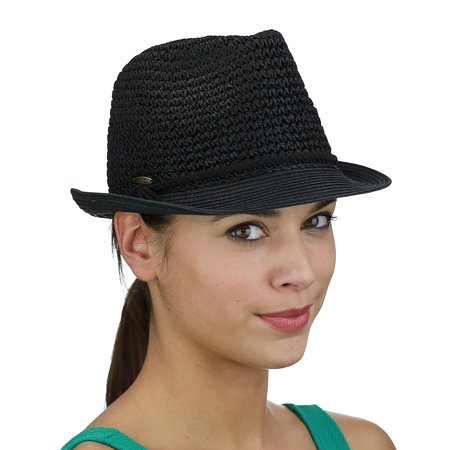 C.C Braided Faux Suede Band Open Weaved Spring Summer Trilby Fedora Hat, Black