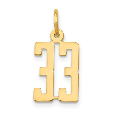 14k Yellow Gold Small Elongated 33 Pendant Charm Necklace Sport Fine Jewelry Gifts For Women For Her - image 5 de 5