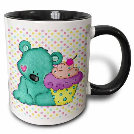 Yummy Halloween Cupcake Recipes (3dRose Cute Blue Bear WIth Yummy Purple Cupcake On Pastel Polka Dots Background - Two Tone Black Mug,)
