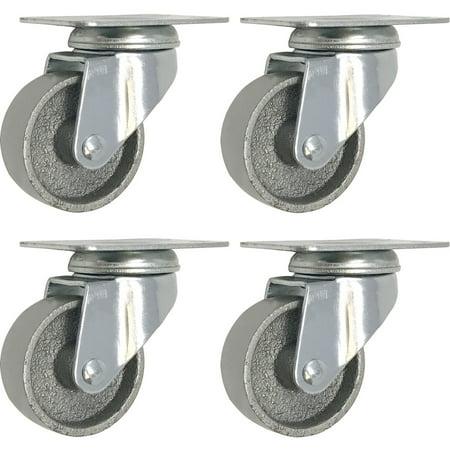 4 All Steel Swivel Plate Caster Wheels Heavy Duty High-gauge Steel Gray (2