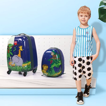 2Pc Kids Carry On Luggage and Backpack Upright Hard Side Hard Shell Suitcase 12