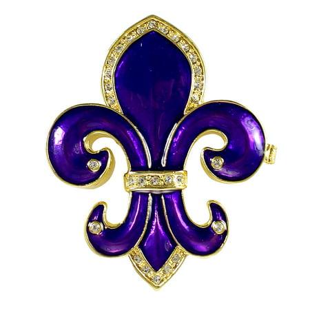 Fleur De Lis Trinket Box Royal Purple Bejeweled Gold