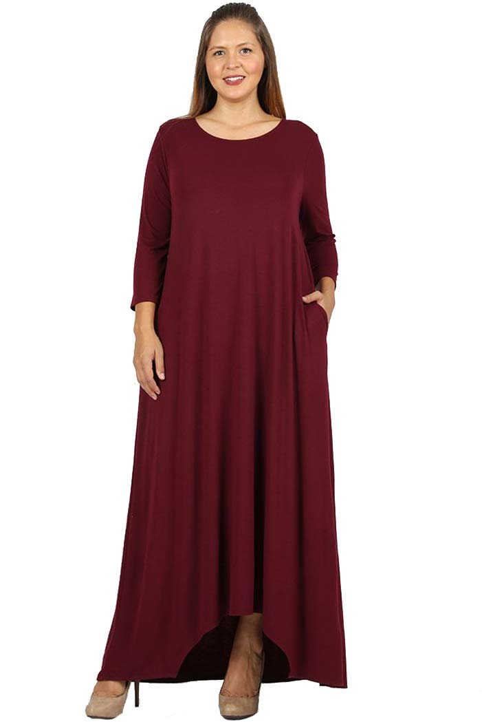 2effc927d6 JED FASHION - JED FASHION Women's Plus Size Asymmetric Hem Maxi Dress with  Pockets - Walmart.com