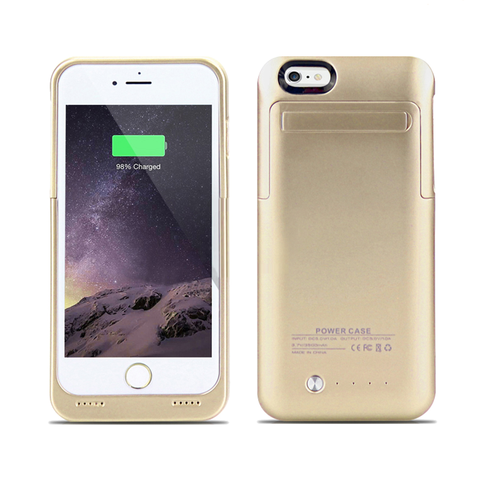 IPhone 6 Plus, IPhone 6S Plus External Battery Backup Case Charger Power Bank 3500mAh Stand Gold