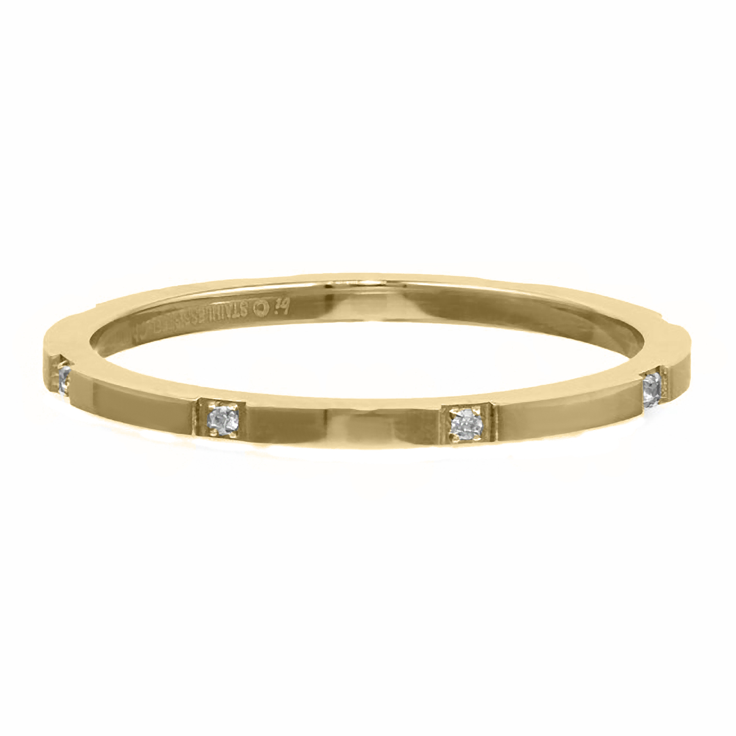 Metro Jewelry Stainless Steel Thin Ring with Gold Ion Plating and Cubic Zirconium