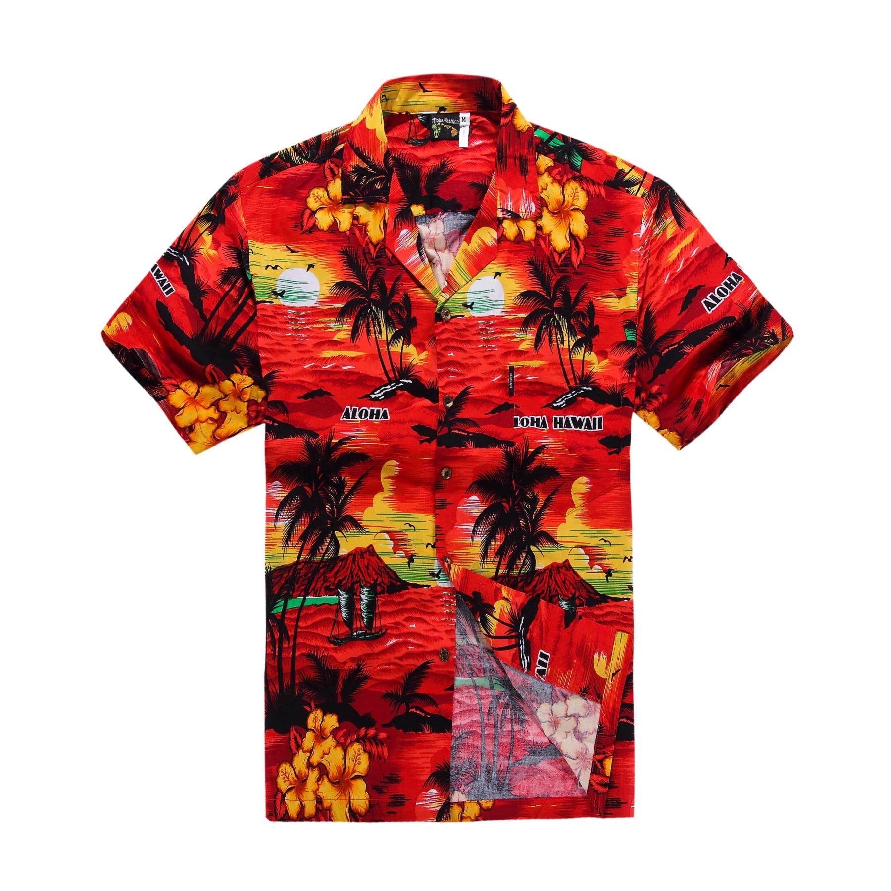 Hawaiian Shirt Aloha Shirt in Red Sunset Science View