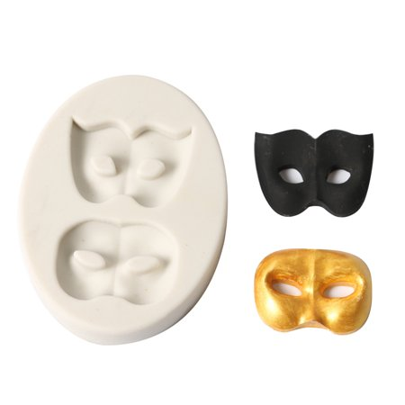 1 Pcs Party 2 Masks Silicone Fondant Mold Chocolate Molds for Cake Decorating Sugarcraft Resin Polymer Clay (Food Safe Clay Molds)