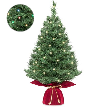 Best Choice Products 26in Multifunctional Cordless Pre-Lit Tabletop Artificial Fir Christmas Tree w/ 35 Warm White and Multicolor LED Lights, 5 Light Functions, Timer, Battery Box - Green ()