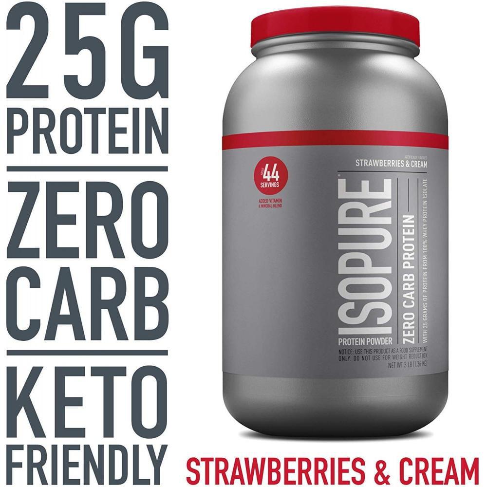 Isopure Zero Carb Protein Powder Strawberries Cream 25g Protein 3 Lb Walmart Com Walmart Com