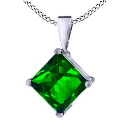 Emerald Cut Cubic Zirconia Necklace (Princess Cut Simulated Green Emerald CZ Pendant Necklace in 14k Gold Over Sterling Silver(1.5)