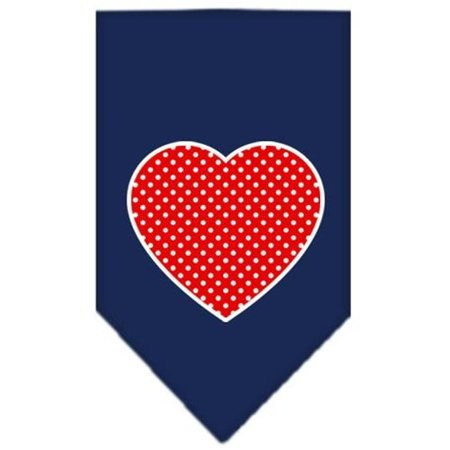 Red Polka Dot Bandana (Red Swiss Dot Heart Screen Print Bandana Navy Blue)
