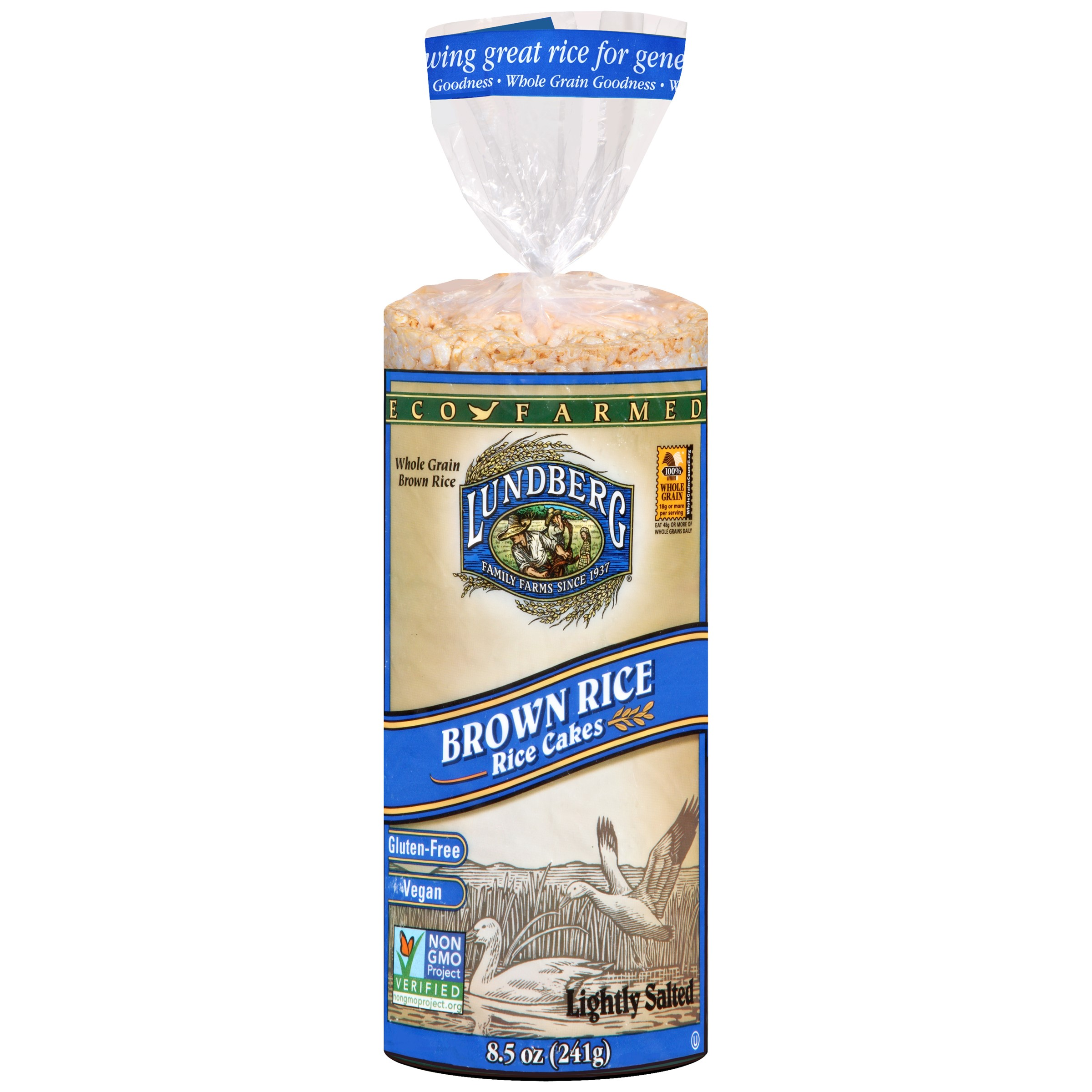 Lundberg Brown Rice Cakes Lightly Salted 8.5 oz - Vegan