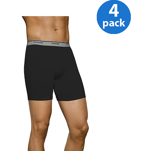New Improved Fit! Fruit of the Loom Big Men's 4 pack Black/Gray Boxer Briefs