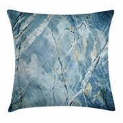 Marble Throw Pillow Cushion Cover, Exquisite Granite Stone Architecture Floor Artistic Nature Faded Rock Picture, Decorative Square Accent Pillow Case, 16 X 16 Inches, Light Blue Grey, by Ambesonne