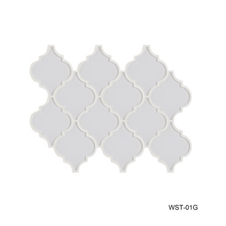 "Water Jet Series 3.5"" x 4.25"" Glass Mosaic Tile in White"
