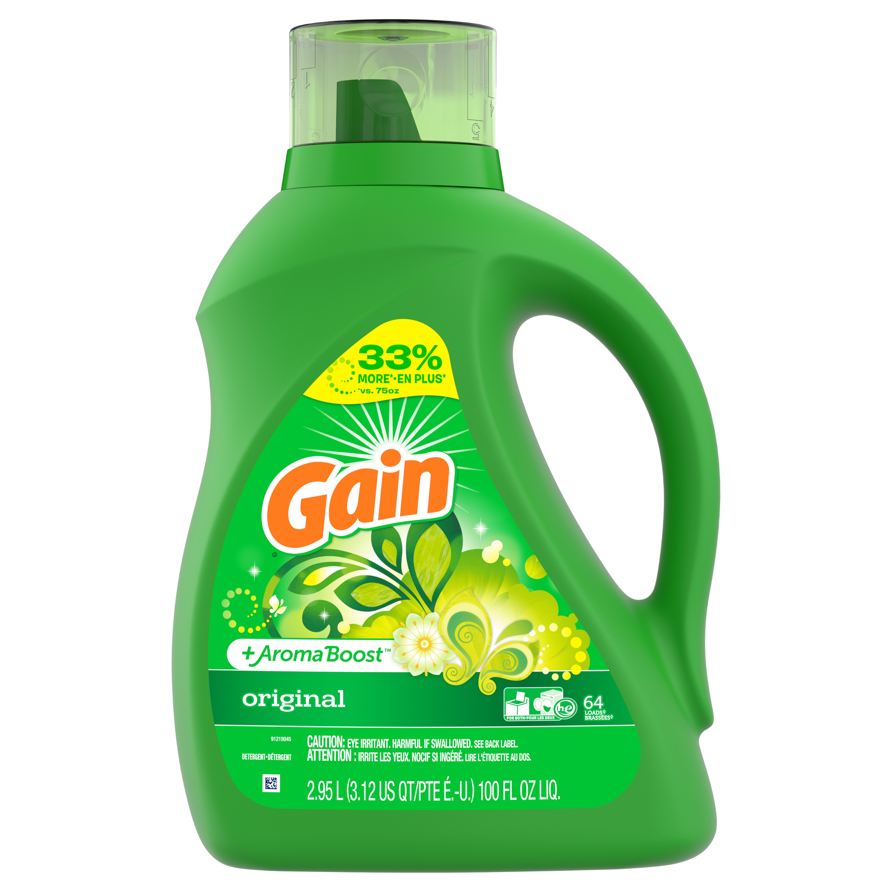 Gain Plus Aroma Boost Liquid Laundry Detergent, Original, 64 Loads, 100 fl oz