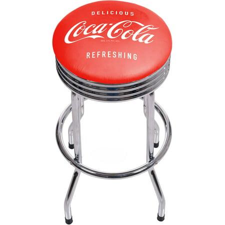 - Coca Cola Chrome Ribbed Bar Stool, Delicious Refreshing