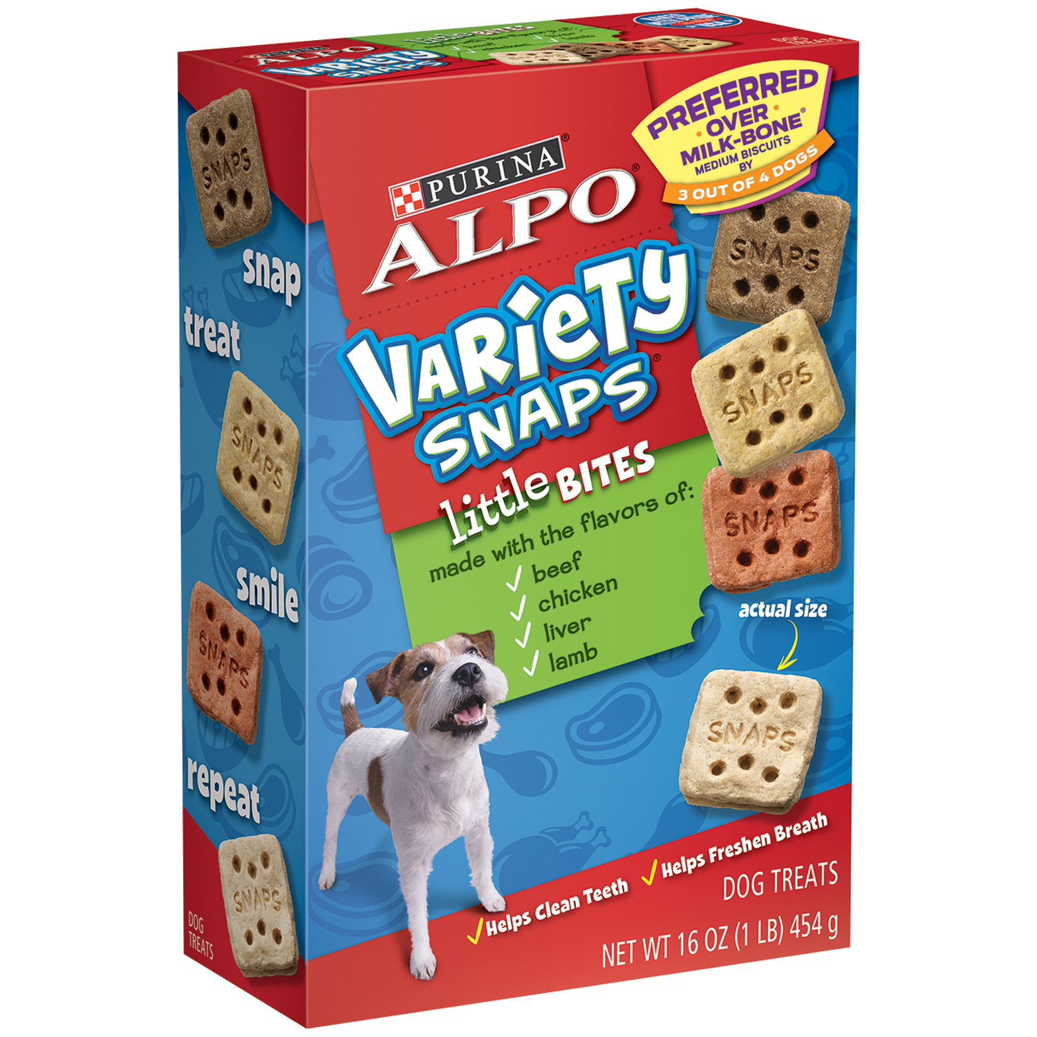 Purina ALPO Variety Snaps Little Bites Dog Treats with Beef, Chicken, Liver & Lamb Flavors 16 oz. Box