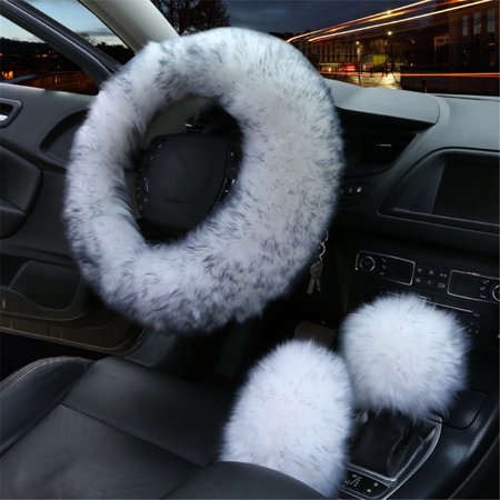3Pcs Winter Furry Car Steering Wheel Cover Protector + Gear Knob Shifter Parking Brake Cover Set ()