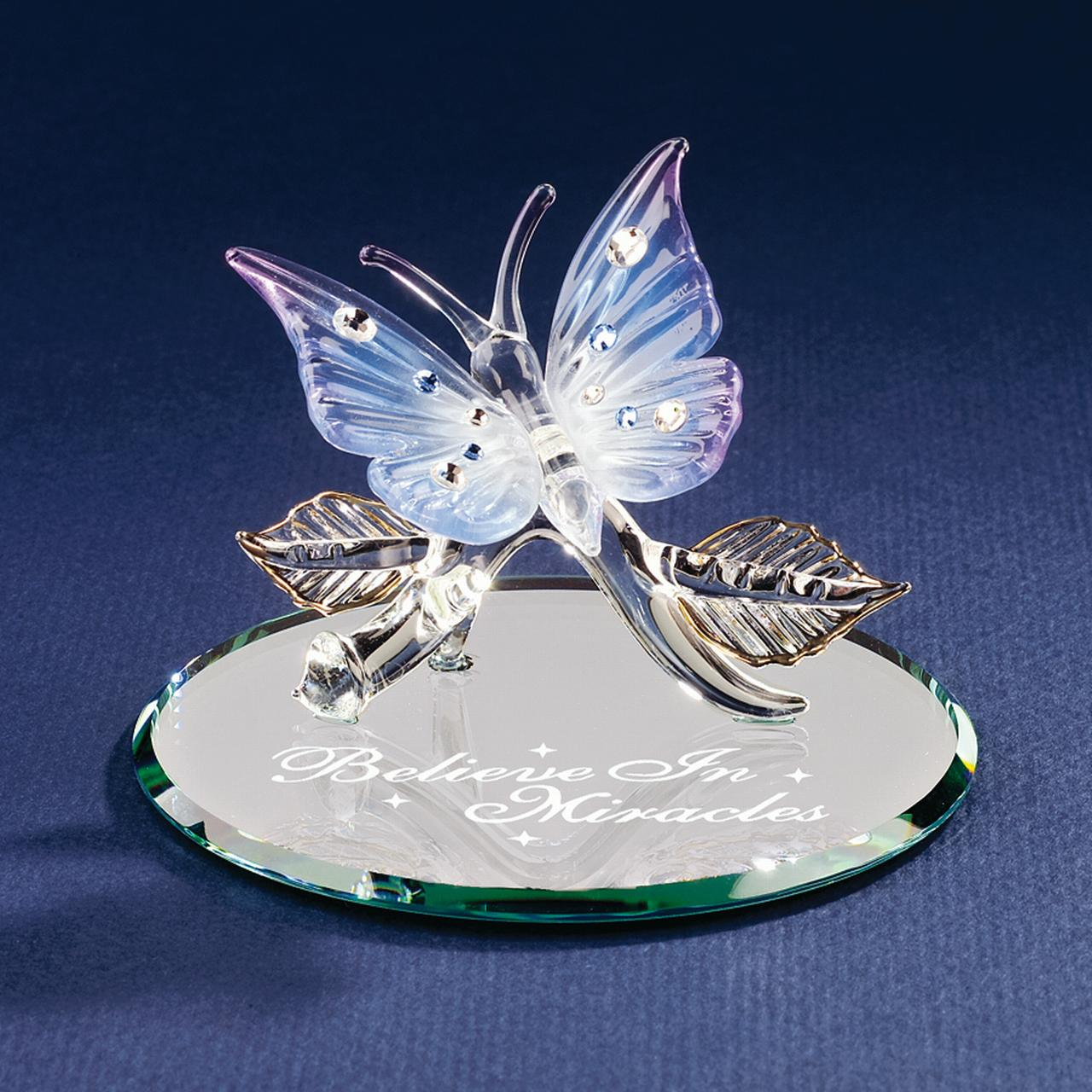Butterfly Believe In Miracles Glass Figurine Floral Garden Nautical Glas Baron For Women