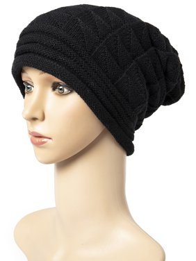 LELINTA Winter Hat For Women Slouchy Beanie Hat Chunky Oversized Cable Knit Stocking Cap Soft Warm Cute, Black/ Grey