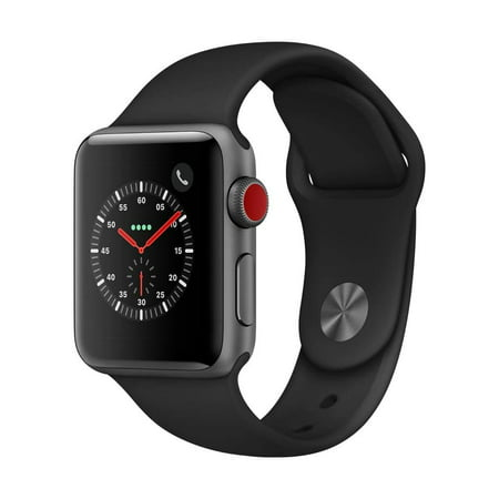 Refurbished Apple Watch Series 3 38mm Space Gray Aluminum Case with Black Sport Band (GPS + Cellular (Space Gray Aluminum Case With Black Sport Band)