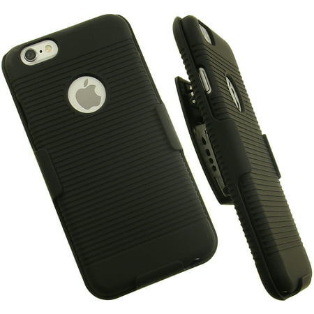 Rubberized Holster Clip (nakedcellphone's new black ribbed rubberized hard case cover + belt clip holster stand for apple iphone 6 (4.7
