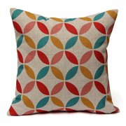 Simple Geometric Couch Cushion Pillow Covers 18''x18'' Square Zippered Cotton Linen Standard Decorative Throw Pillow Covers Slip Case Protector for Chair Seat Sofa Patio
