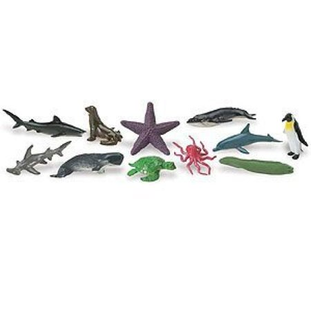 Safari Ltd Ocean TOOB Comes With 12 Different Hand Painted Animal Toy Figurine Models Including Sea Lion, Eagle Ray, Starfish, Turtle, Penguin, Octopus, Humpback Whale, Sperm Whale, Moray Eel, Hammerh