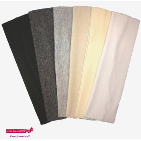Kenz Laurenz Cotton Headbands 6 Soft Stretch Headband Sweat Absorbent Elastic Head Bands Black Ombre - Black Headband
