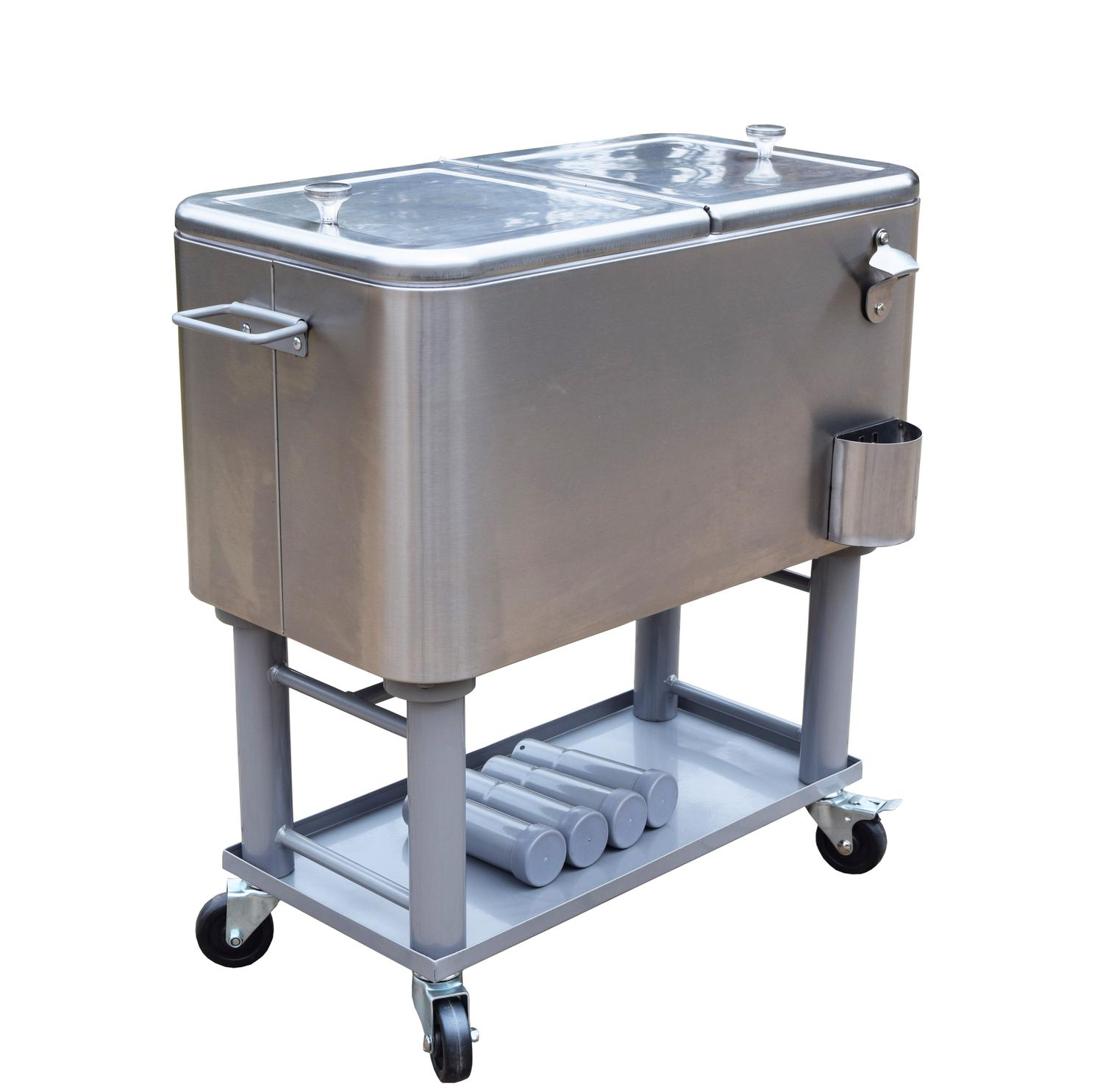 "34"" Silver Stainless Steel 15-Gallon Party Cooler Cart with Built in Bottle Opener"