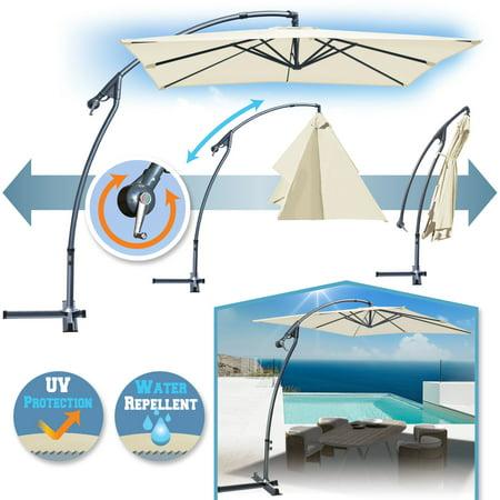 Sunrise 8'x8' Cantilever Banana Umbrella Patio Offset Parasol Garden Outdoor Sunshade Hanging Market-360'C Rotational Function (Ecru) ()