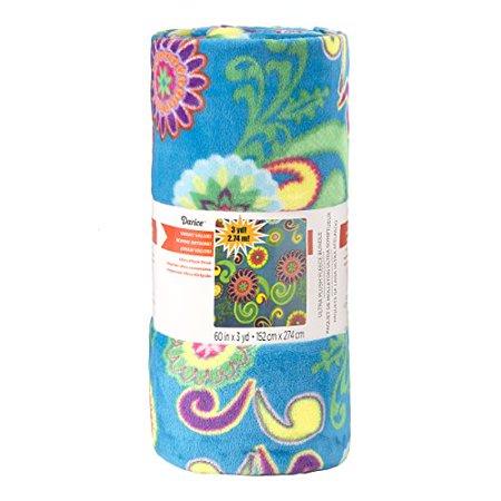 Darice Floral Blue Print Ultra Plush Fleece Fabric Roll Multicolor - image 1 de 1