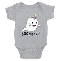 Boonicorn Cute Halloween Costume Ghost Unicorn Baby Bodysuit Gift Grey