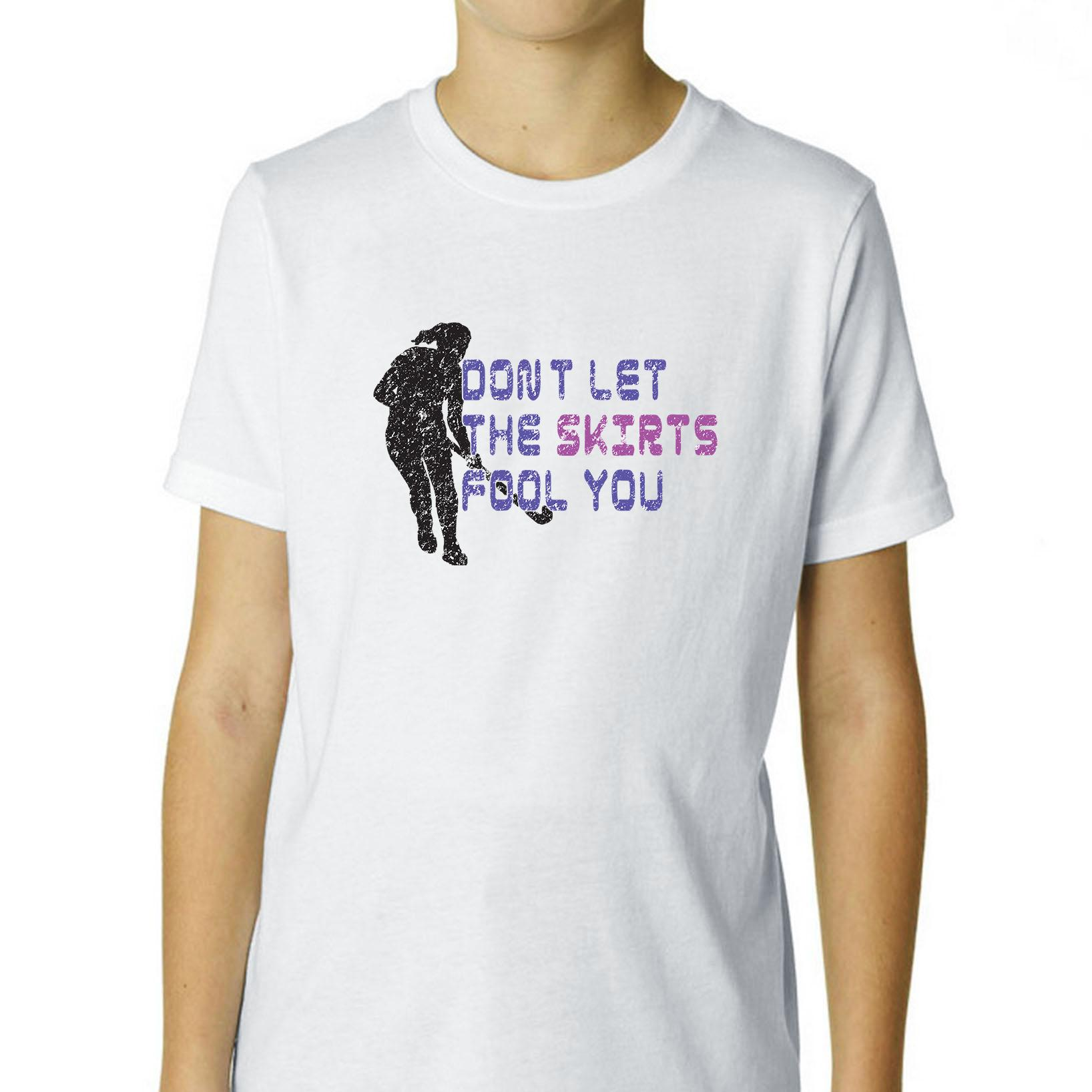Field Hockey Player Don't Let The Skirts Fool You Boy's Cotton Youth T-Shirt by Hollywood Thread