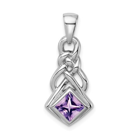 925 Sterling Silver Purple Amethyst Pendant Charm Necklace Gemstone Geometric Gifts For Women For Her
