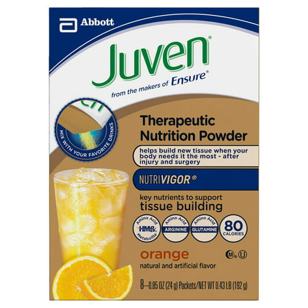 Juven Specialized Nutrition Powder, Orange, 0.85 oz Pouches (Pack of 8)