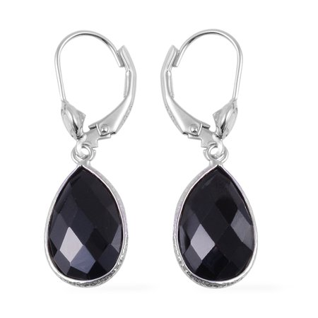 Lever Back Solitaire Earrings 925 Sterling Silver Black Spinel White Topaz Jewelry for Women Gift Ct 9 (Black Diamond Jewelry)