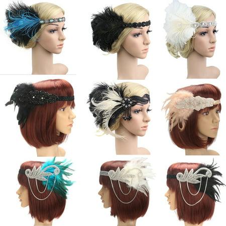 Retro 1920s Headpiece Feather 20's Bridal Great Gatsby Flapper Hair Hoop Headband - 1920s Headpiece