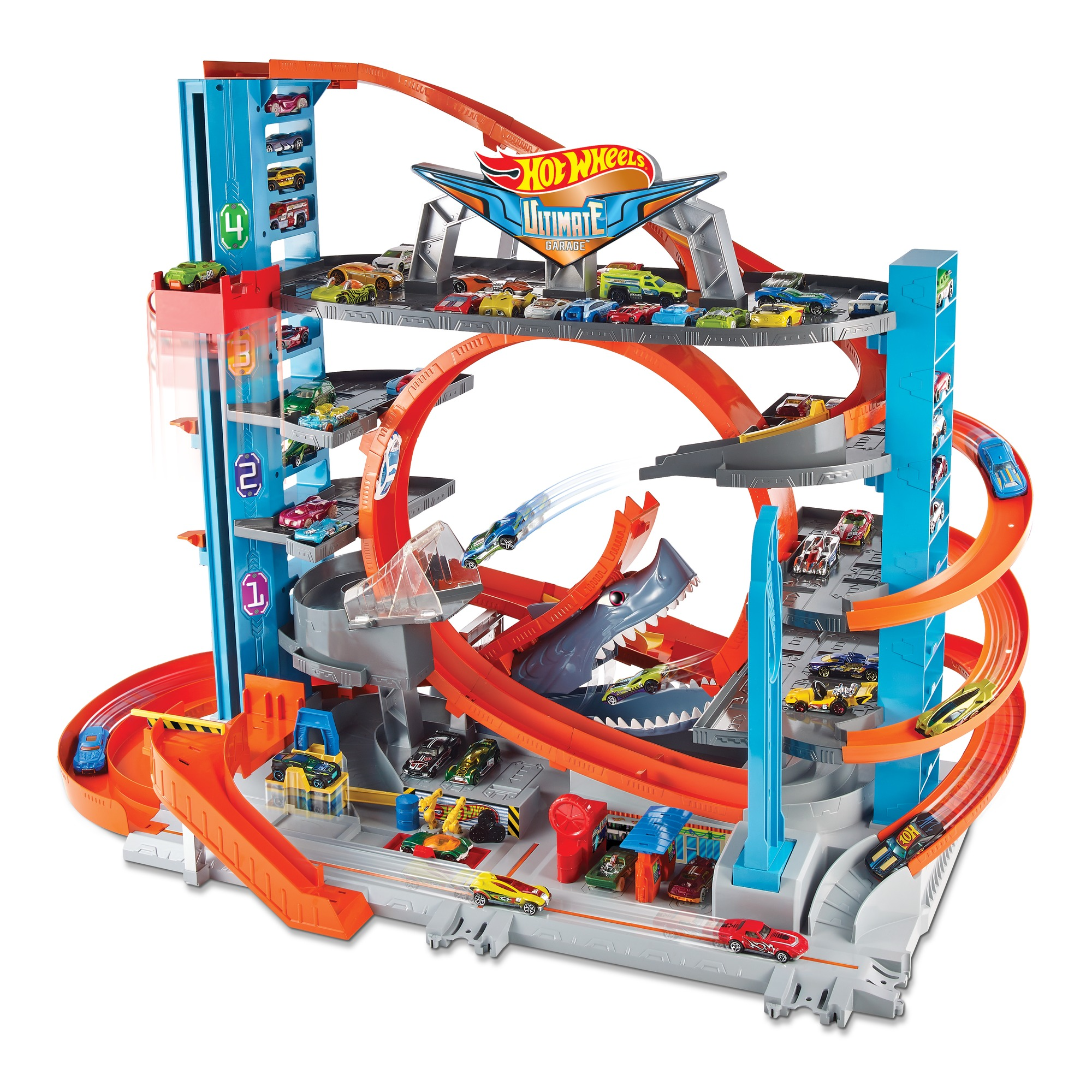 Hot Wheels Ultimate Garage Tower Shark Loop Racetrack Set with Two Vehicles by Mattel