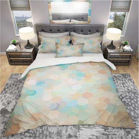 DESIGN ART Designart 'Honeycomb Geometry in pastel Colored cluster' Modern & Contemporary Bedding Set - Duvet Cover & - Cluster Design