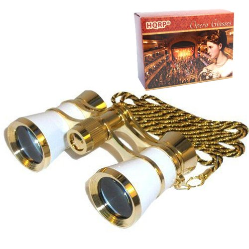 HQRP 3 x 25 Opera Glasses Binocular White pearl with Gold Trim, Crystal Clear Optic (CCO), Necklace Chain in HQRP Gift... by