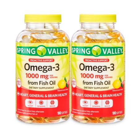 180 Fish (Spring Valley Omega-3 Fish Oil Softgels, 1000 Mg, 180 Ct, 2 Pack (360 Ct))