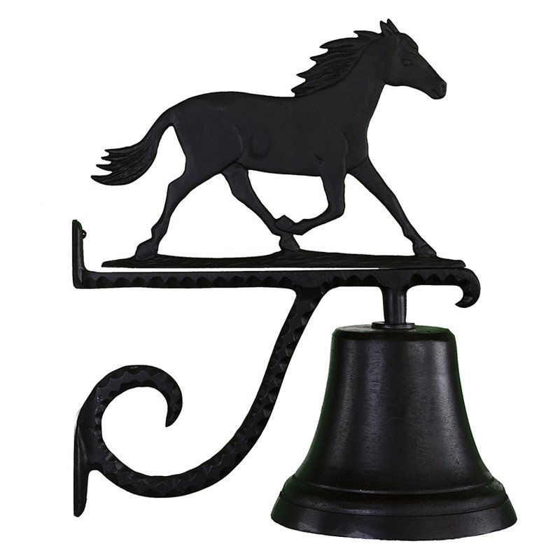 Montague Metal Products CB-1-74-SB Cast Bell With Satin Black Horse Ornament