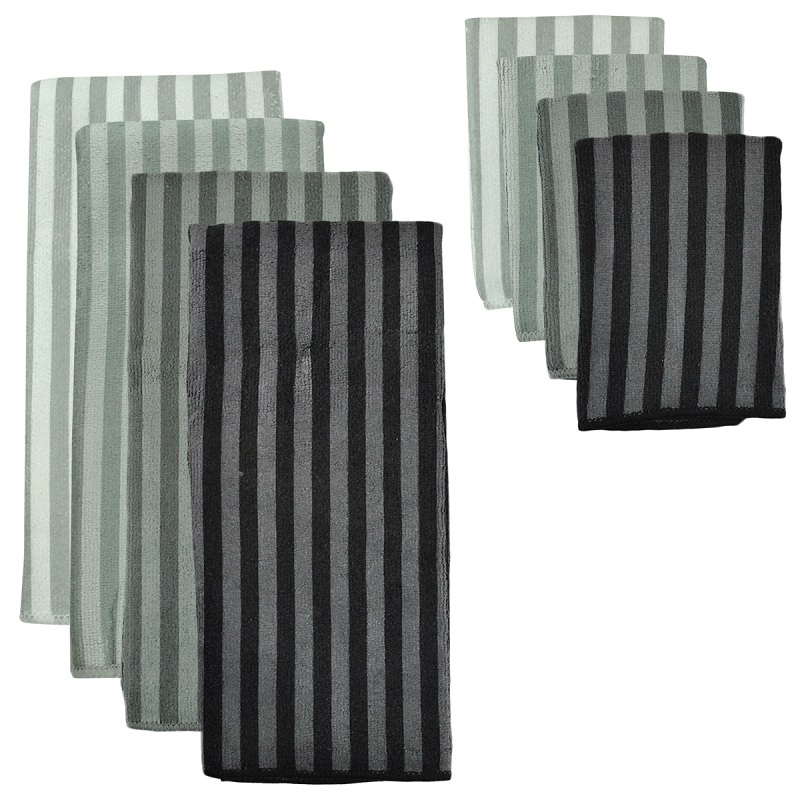 Pack of 8 Multi-Gray Striped Dish Towel and Wash Cloth Kitchen Accessory Set - Microfiber