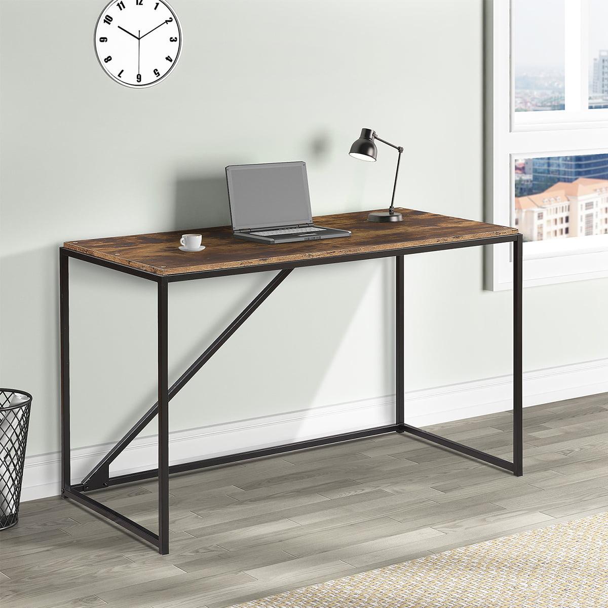 Modern Simple Office Desk Heavy Duty Corner Computer Desk Home Office Computer Table With Wood Desktop Metal Frame Laptop Desk Workstation Student Desk Desk For Home Office Brown W14277 Walmart Com