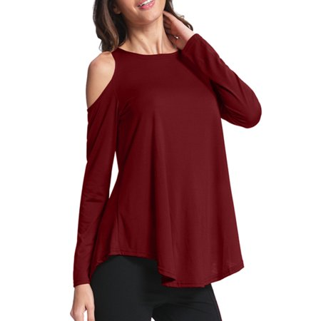 Womens Cold Shoulder Long Sleeve Casual Tops