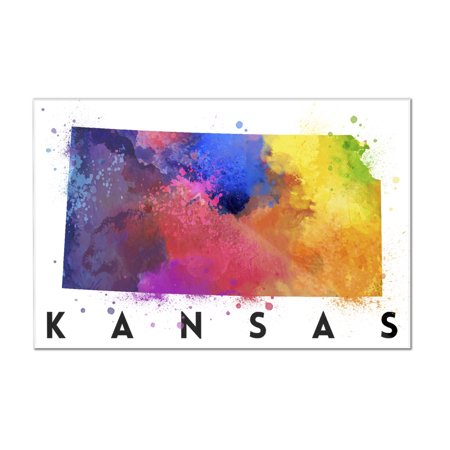 Kansas - State Abstract Watercolor - Lantern Press Artwork (12x8 Acrylic Wall Art Gallery Quality)
