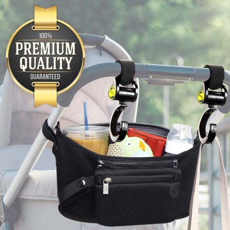 Item Holder - Eutuxia Baby Stroller Bundle, Organizer Bag with Multi Pockets & Detachable Wristlet + 2 Hooks for Strollers. Insulated Cup Holders for Drinks, Storage Space for Items, and Hooks to Hang Your Bags.